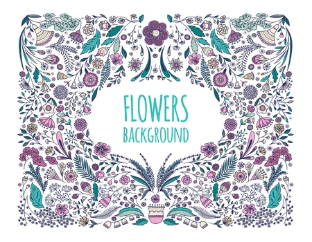 Floral background. Hand drawing. Linear style. Vector illustration.