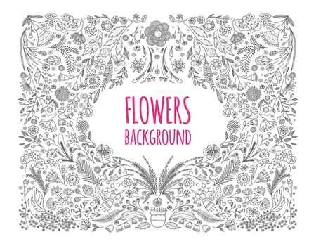 Floral monochrome background. Hand drawing. Linear style. Vector illustration