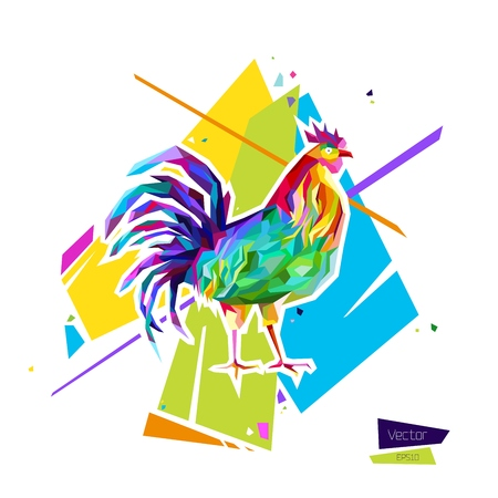 Abstract bright rooster. Sign of 2017. Vector illustration 向量圖像