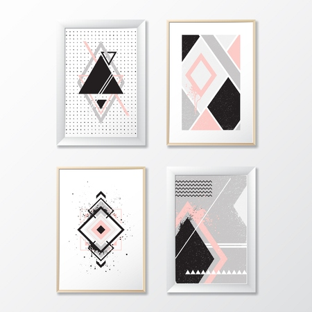 Set frames with geometric pictures. Vector illustration EPS 10. 向量圖像