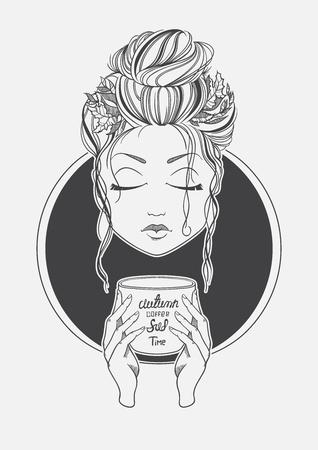 Girl drinking coffee. Black and White print line. Romantic girl. Vector illustration.