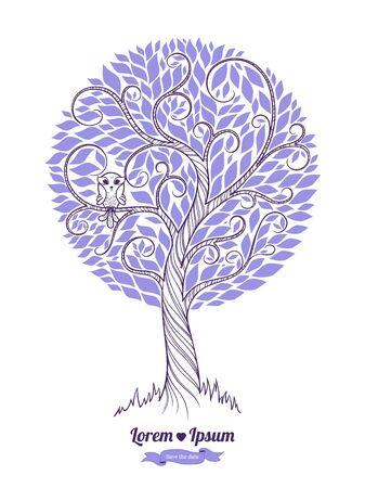 Stylized green tree. Vector illustration. Wedding Tree invitation, Save The date. Ecology 向量圖像
