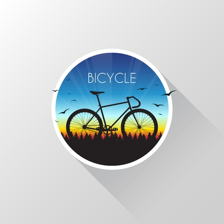 Silhouette of bicycle on nature at sunset. Vector illustration EPS10. 向量圖像