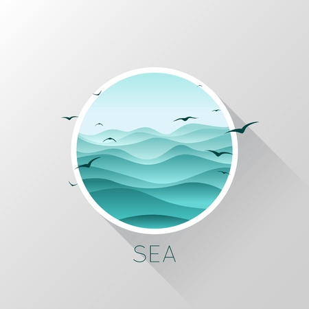 Sea icon. Waves and seagulls. Vector illustration EPS10