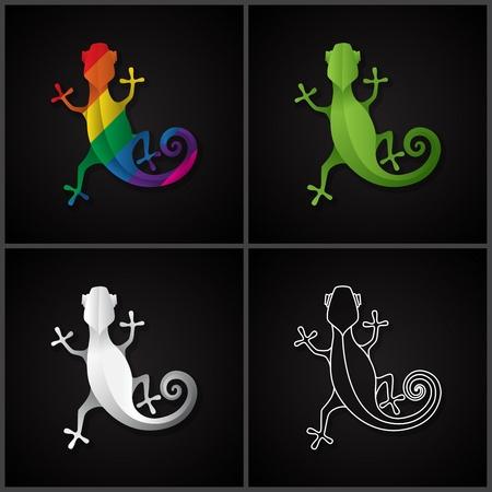 Stylized icon salamander. Vector line illustration EPS10 向量圖像