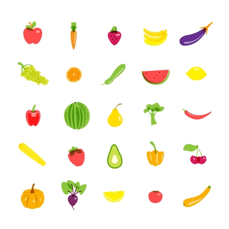 Icons set vegetarian products. Vector illustration EPS10. 向量圖像