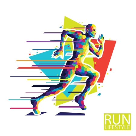 young male: Abstract running man. Style wpap. Vector illustration EPS10