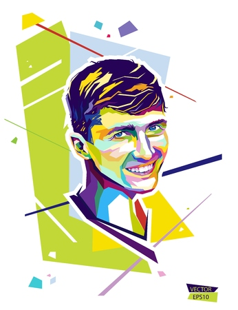 Abstract portrait young man. Style wpap. Vector illustration EPS10. 向量圖像