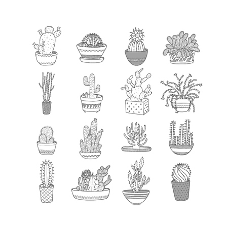 Set icons cacti. Style Hand drawing. Vector illustration EPS10.