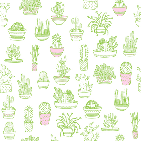 Cactus in a pot. Seamless background. Hand drawing. Vector illustration EPS10.