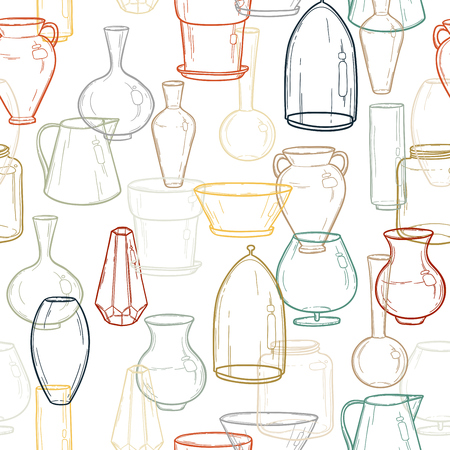 Seamless background with silhouettes of vases. Hand drawing. Vector illustration EPS10.