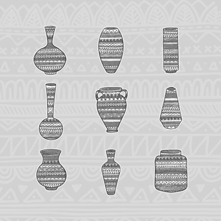 Set vases with ethnic pattern. Hand drawing. Vector illustration EPS10.