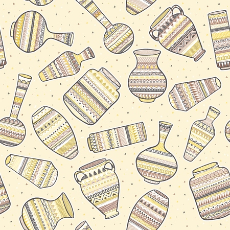 Seamless background with ethnic patterns on vases. Vector illustration EPS10.