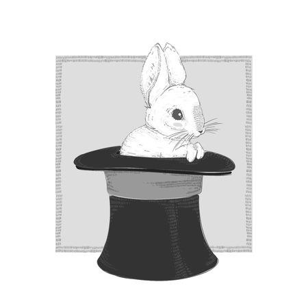 Rabbit in the hat. Hand drawing. Vector illustration EPS10.