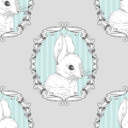 Rabbit in the frame. Seamless background. Hand drawing. Vector illustration PS10