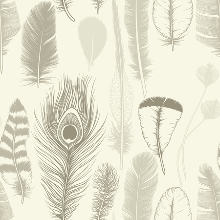 Vintage set feathers. Seamless pattern. Hand drawing. Vector illustration