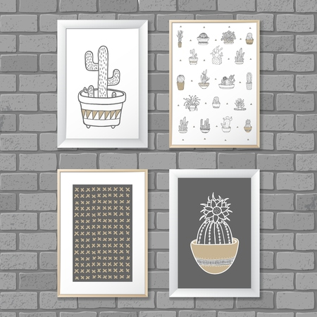 Art painting with Cactus in frame. Abstract pattern. Vector illustration concept EPS10