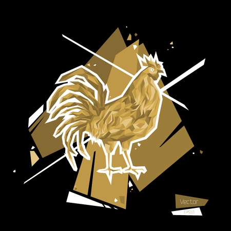 Golden Rooster. Symbol 2017. Polygon style Vector illustration EPS10