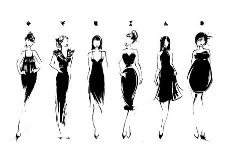 Modelos de moda en el estilo de dibujo. Colección de vestidos de noche. tipos de cuerpo femenino. Vector dibujado a mano ilustración EPS10