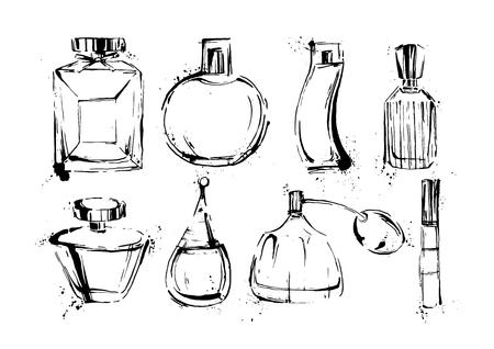 Set de botellas de perfume. Bosquejo de la manera. Dibujado a mano ilustraciones vectoriales EPS10.