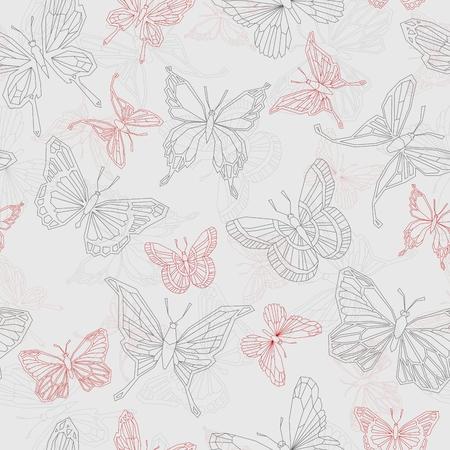 Set geometric shapes butterflies. Vector illustration EPS10. Seamless background. 向量圖像