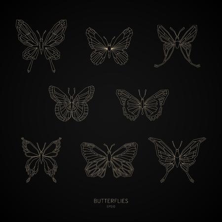 Set gold butterflies geometric shapes. Vector illustration EPS10.