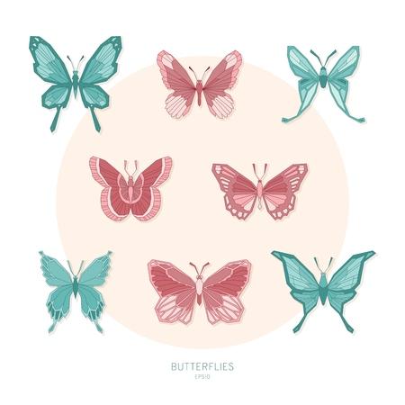 Set colored butterflies geometric shapes. Vector illustration EPS10.