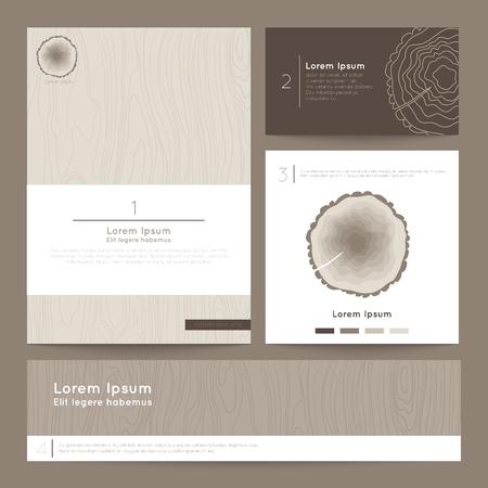 Set of corporate business card folder, banner. Eco branding. Vector illustration EPS10.