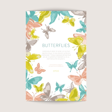 Greeting card with geometric butterflies. Vector illustration EPS10.