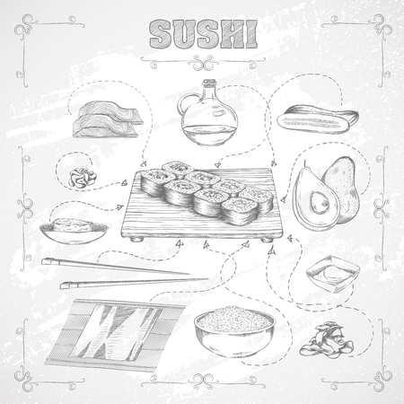 hand set: Japanese food. Recipe and ingredients of sushi. Painted hands style. Vector illustration EPS10