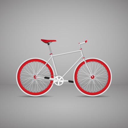 Retro bike is red. Vector illustration EPS10.