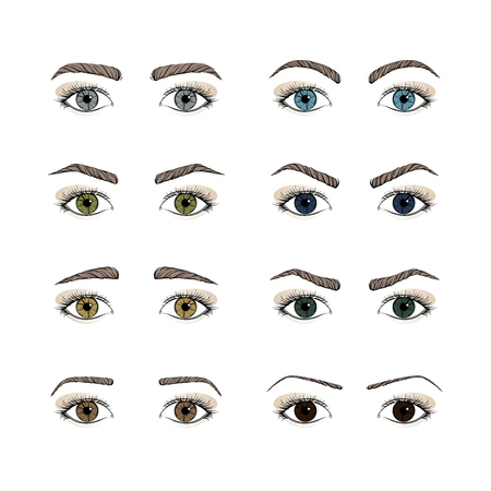 Set female eyes. olored iris eyes. Different forms eyebrows. Hand drawing. Vector illustration.