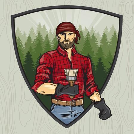 lumberjack with a brush. Manual rendering. Style comics. Vector illustration.  イラスト・ベクター素材