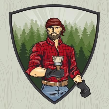 lumberjack with a brush. Manual rendering. Style comics. Vector illustration. 向量圖像