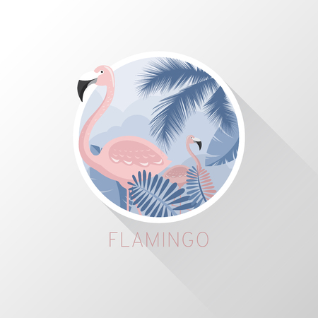 Flamingo in a flat style. Vector illustration