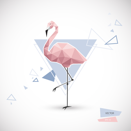 Flamingo low poly style. polygonal illustration. Vector Eps10.