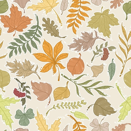 Set of autumn leaves. Seamless background. Vector illustration.  イラスト・ベクター素材