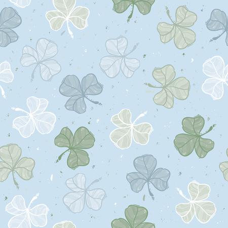 Seamless floral pattern leaf clover. Sketch style. Vector illustration.