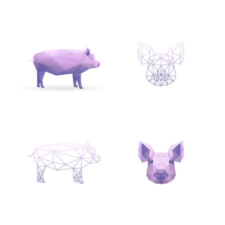 Year pig. Polygonal style. Vector illustration EPS10 版權商用圖片