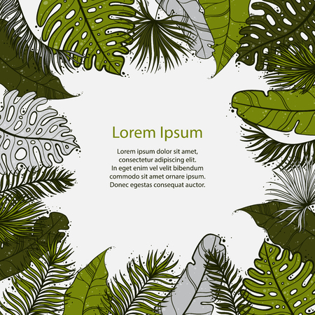 Palm Sunday Christian feast holiday. Tropical jungle tree palm green leaves border frame template. Text placeholder. Vector design illustration.
