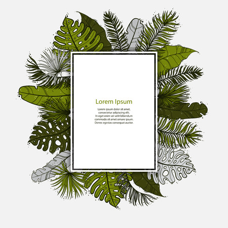 Palm Sunday Christian feast holiday. Tropical jungle tree palm green leaves border frame template. Square rectangle shape. Text placeholder. Vector design illustration.