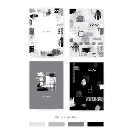 Vector. Set of cards with monochrome blots. Set of cards with hand drawn blots on white background for your design. Save the Date, postcard, banner.