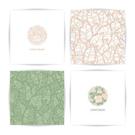 Flower template. Seamless set of packaging design templates. Vector illustration