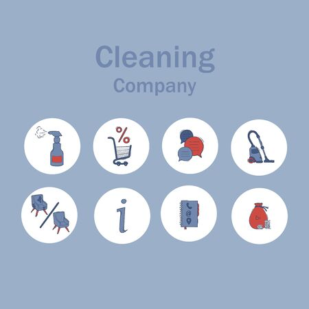 Icons for a cleaning company. Vector illustration