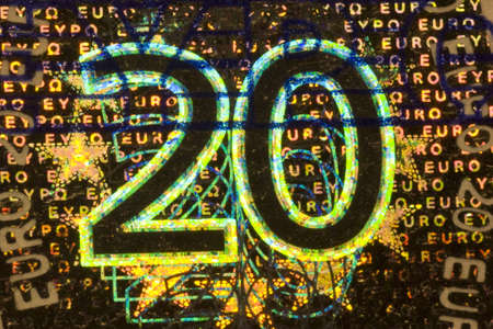 greatly: greatly enlarged detail of a  twenty euro banknote Stock Photo