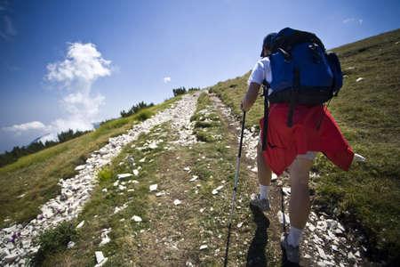 abruzzo: Hiker on a trail on Mount Maiella in Abruzzo