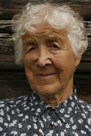 oap: old woman smiling Stock Photo