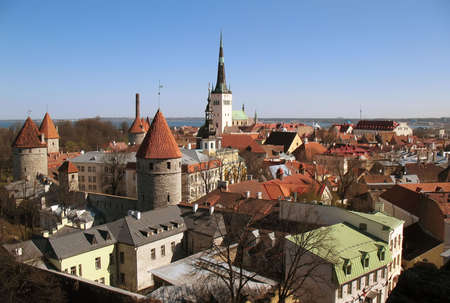 view of Tallinn with red and brown rooves photo