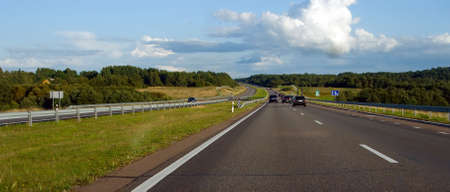 panoramic view of a country highway in Lithuania photo