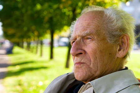 closeup portrait of the old serious man thinking Stock Photo - 5611195